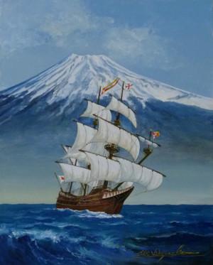 帆船絵画 サンファンバウチスタ号 P1060674_bautista