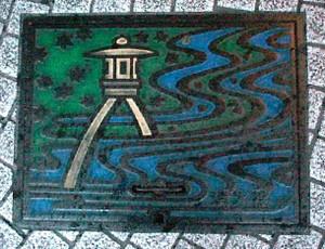 マンホールのふた 琴柱灯籠 Manhole_kanazawa01