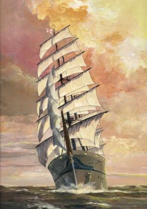 帆船絵画 日本丸 Akatuki