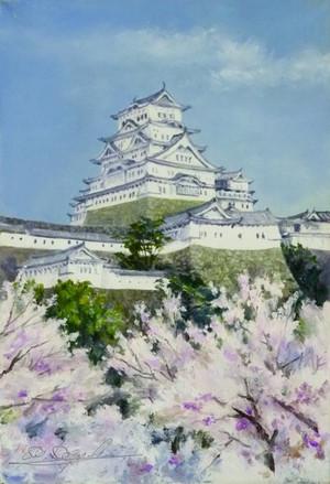 姫路城 油絵 Himezi_castle
