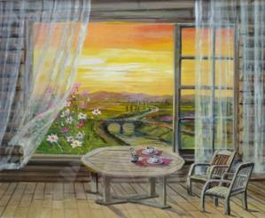 「朝の窓辺」 アクリル画 Windows_side_org