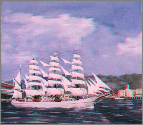 立体視 3D 帆船 Hansen_ana
