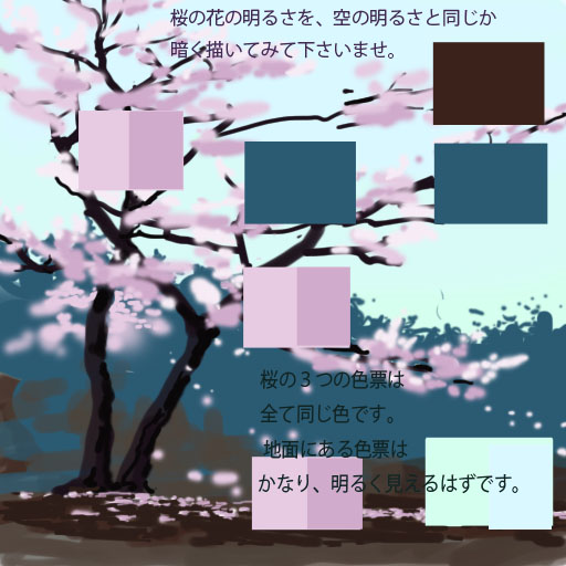 桜の基本配色 色票で桜の花の色を考える。