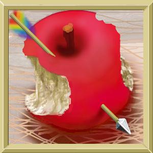 かじったリンゴにキューピットの矢
