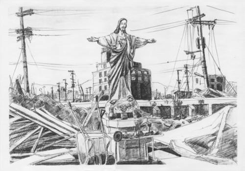 焼け残ったキリスト像