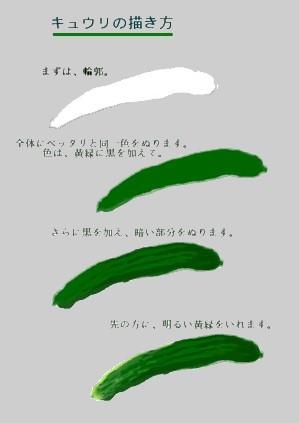 キュウリの描き方 水彩画 絵手紙 Kyuuri1
