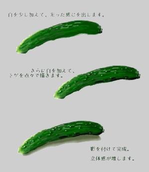 キュウリの描き方 水彩画 絵手紙 Kyuuri2
