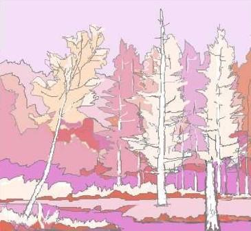 薄紫と橙だけで絵を描く 上高地・田代池