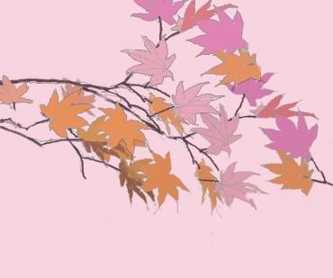 薄紫と橙で紅葉を描く