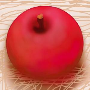 ココログのお絵描きツール   マウスでリンゴを描く Painting an apple only by the mouse
