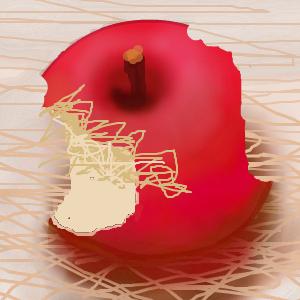 リンゴの赤い部分に線がはみ出しても 気にすることはありません。