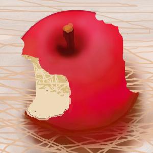 不要な線を消しゴムで消せば、 リンゴの赤い部分が復元されます。