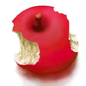 かじったリンゴ かじった部分はレイヤー3に書かれています。 バックをはずして「投稿」しています。_