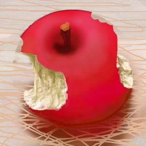 マウスでお絵描き 「かじったリンゴ」  完成です。 さらに、これに 何かを追加します。